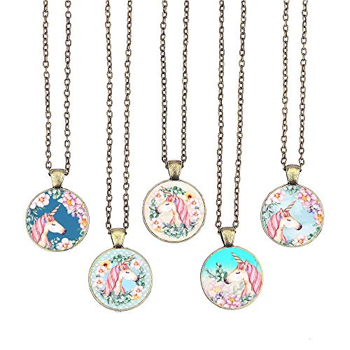 - BUENAVO Unicorn Pendant Necklace Glass Cabochon Pendant Vintage Art Inspired Necklace with 24 inches Copper Oval Chain Antique Bronze Finish Pendant Handmade for Gifts 5pcs (Unicorn 10)