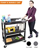 Original Tubster - Shelf Utility Cart/Service Cart - Heavy Duty - Supports up to 400 lbs! - Tub Carts & Deep Shelves (Three Shelf Black)