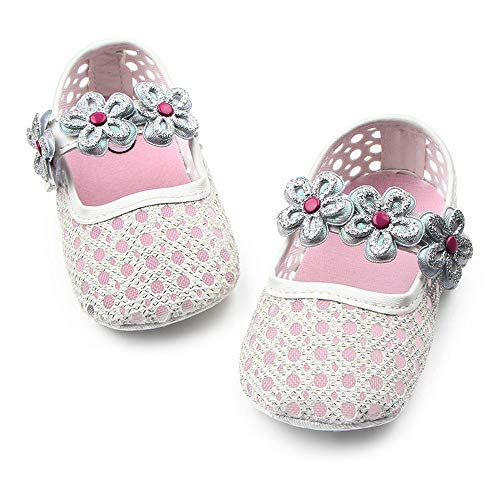 (Babelvit Infant Baby Girls Mary Jane Flats PU Leather Princess Dress Bowknot Baptism Crib First Walkers Sandals Shoes (12-18 Months M US Toddler, B-Silver))