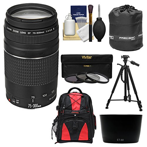 Canon EF 75-300mm f/4-5.6 III Zoom Lens with Backpack + Tripod + 3 UV/CPL/ND8 Filters + Hood Kit