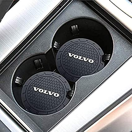 VW Bylan 2 Pcs 2.75 inch Car Logo Cup Holder Coaster Accessories for Volkswagen,Anti Slip Mat Auto Interior Decoration Pad