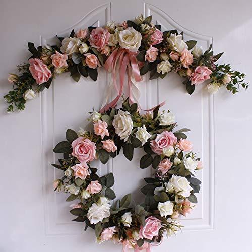 brand new d8c4f c9300 CoronationSun – Decor Garland – Rose Peony Artificial Flowers Garland  Decorative Flower Door Wreath for Wedding Home Christmas Decoration