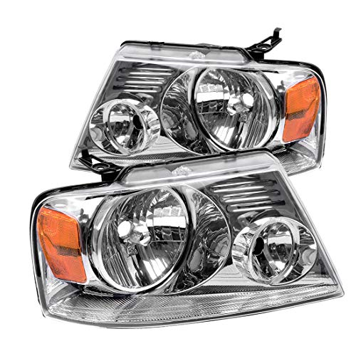 Headlight Assembly Kit, Headlamps Replacement for 2004 2005 2006 2007 2008 Ford F150 Pickup Passenger and Driver Side, Chrome Housing Amber Reflector, One-year warranty