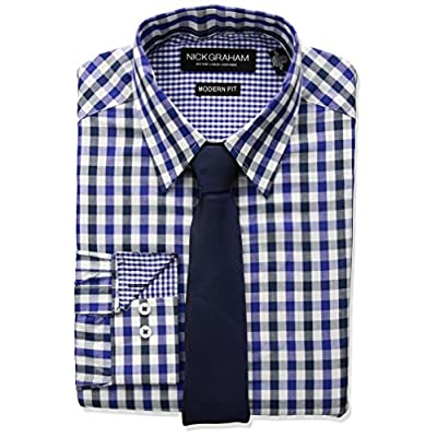 Nick Graham Men\'s Multi Gingham Dress Shirt With Solid Tie Set for sale S6d4FIo7