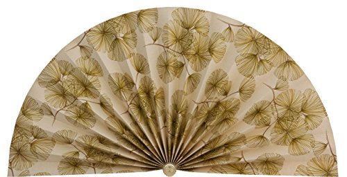 Neat Pleats Pleated Decorative Fan, Fireplace Hearth Screen, Window or Overdoor Wall Hanging - L468 - Beige with Green & Brown Geometric Vintage Retro-styled Floral Flowers (Screen Fireplace Fan)