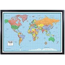 24x36 World Classic Elite 3D Push-Pin Travel Wall Map Foam Board Mounted or Framed (Black Framed)