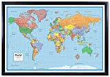 24x36 World Classic Elite 3D Push-Pin Travel Wall Map Foam Board Mounted or Framed (Black Framed)