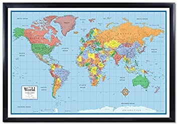 Amazon 24x36 world classic elite 3d push pin travel wall map 24x36 world classic elite 3d push pin travel wall map foam board mounted or framed gumiabroncs Image collections