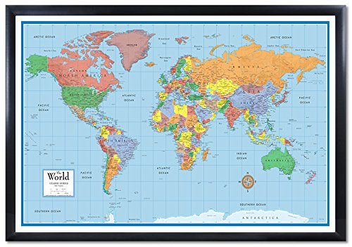 Swiftmaps 24x36 World Classic Elite 3D Push-Pin Travel Wall Map Foam Board Mounted or Framed (Black Framed)