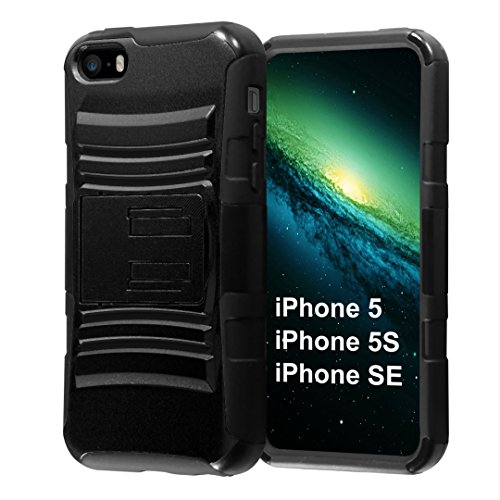 iPhone SE Case, Capsule-Case Hybrid Dual Layer Combat Full Armor Style Kickstand Case with Holster Combo (Black) for iPhone SE/iPhone 5s / iPhone 5