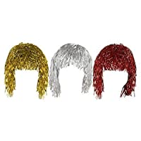 Set of 3 Gold Silver & Red Adult Fancy Dress Shiny Metallic Foil Tinsel Wigs Costume Accessory