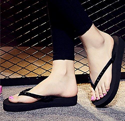 Rhinestone Beach Sfnld Flip Summer Thong Sandals Platform Womens Slippers Trendy Flop Black RnR8T1a