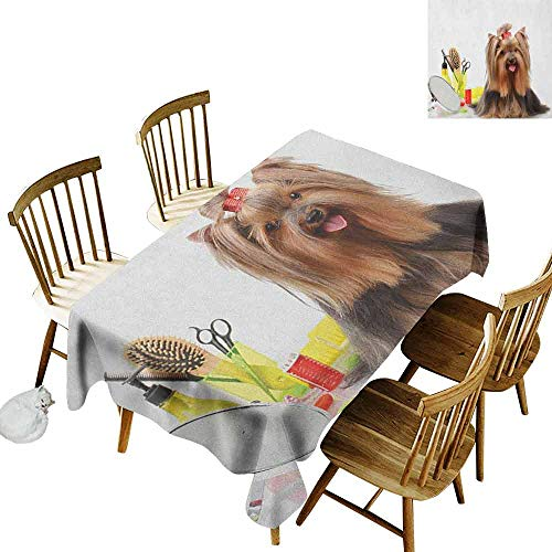 - DONEECKL Yorkie Oil-Proof Tablecloth Seamless Design Yorkshire Terrier with Stylish Hairdressing Equipment Mirror Scissors Dark Brown Multicolor W60 xL84