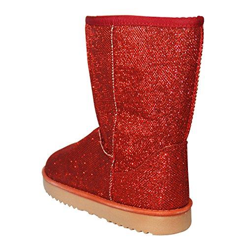 Damen Boots Winterfellstiefel Moonboots Schlupfstiefel gefüttert GLITZER GLANZ Rot