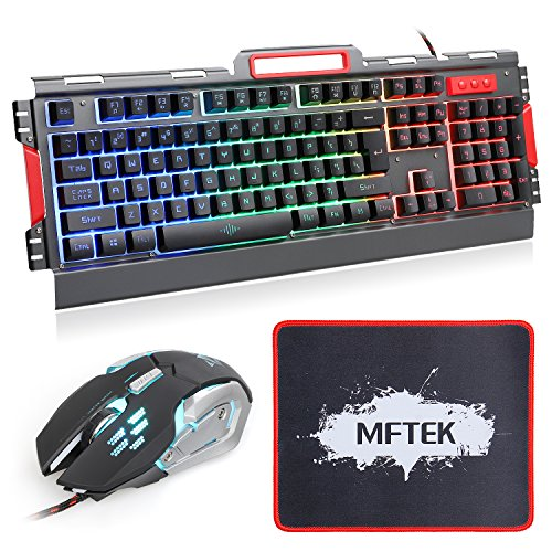 5d8bed358a0 MFTEK Gaming Keyboard and Mouse Combo, Rainbow LED Backlit Keyboard and  Wired Gaming Mouse Set with Customized MousePad for Gamer or Office Worker:  ...