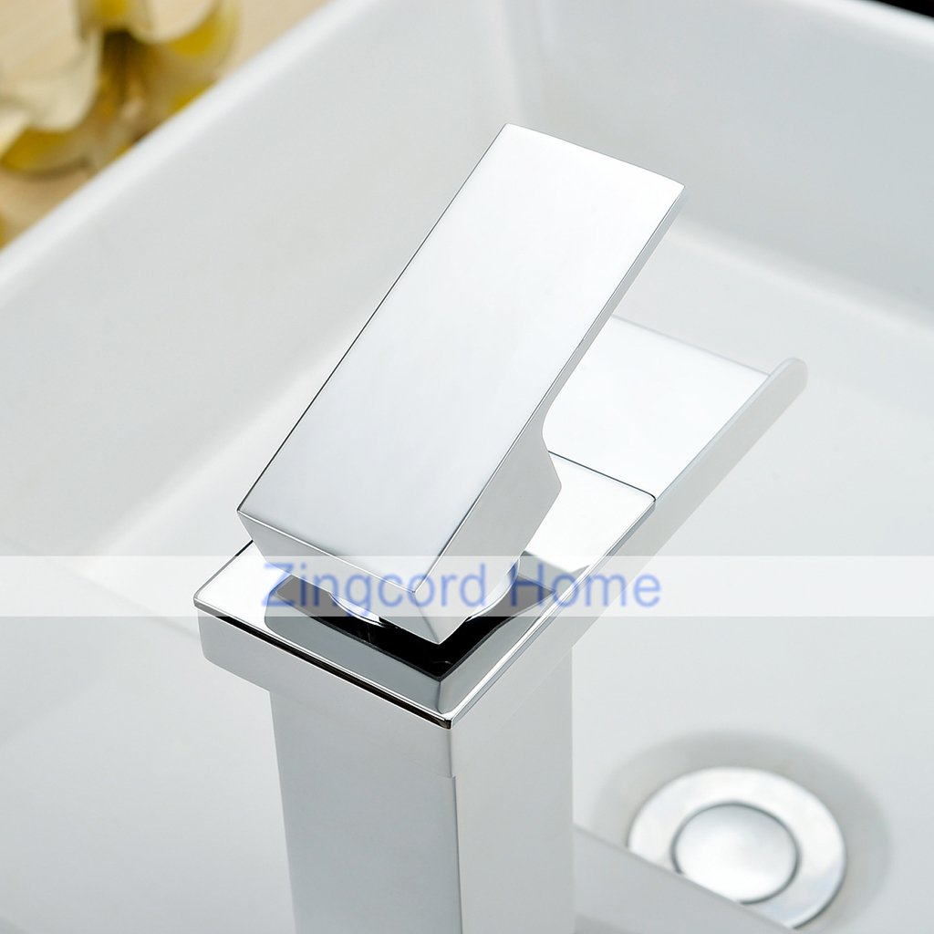 Zingcord Contemporary White Baking Finish Luxury Centerset Single Handle LED Color Change Waterfall Bathroom Sink Faucet by Zingcord (Image #4)