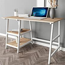 """Dland 47"""" Medium Computer Desk, Composite Wood Board, Home Office Desk/ Workstation/ Table with 2 Shelves, Tplus-120MW Maple & White Legs, 1 Pack"""