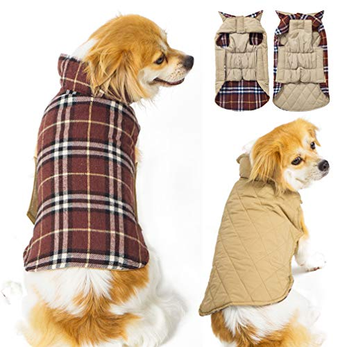SuBleer Winter Dog Jacket for Cold Weather, Warm Dog Coats Waterproof Windproof Reversible, Plaid Dog Vest Jackets for Extra Small Puppy Dogs,Brown XS ()