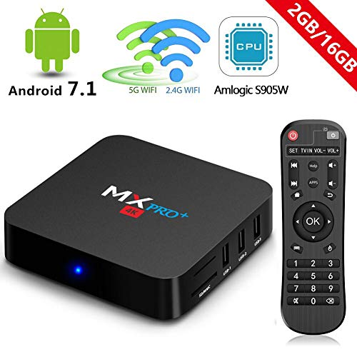 RBSCH MX Pro+ TV Box Android 7.1 2GB Ram 16GB ROM Amlogic S905 X 5G/2.4G Dual Band WiFi with Bluetooth Ture 4K Playing Quad Core 64bits 2018 Android Box (MX PRO+(2G+16G)) (Best 4k Kodi Box)