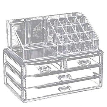 Amazon.com: Caja de acrílico transparente para maquillaje, 4 ...