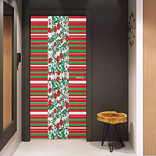 Onefzc Wood Door Sticker Christmas Poinsettia Flowers Fresh Green Branches Natural Swirls Border on Striped Backdrop Easy-to-Clean, Durable W36 x H79 Multicolor