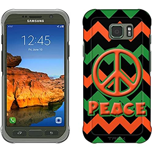Samsung Galaxy S7 Active Case, Snap On Cover by Trek Peace on Chevron Blue Orange Black Slim Case Sales