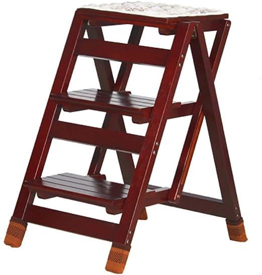 QQXX Escalera Plegable de 3 peldaños Escalera Plegable Biblioteca Familiar Ligera Taburete (Color: Nogal Negro): Amazon.es: Hogar