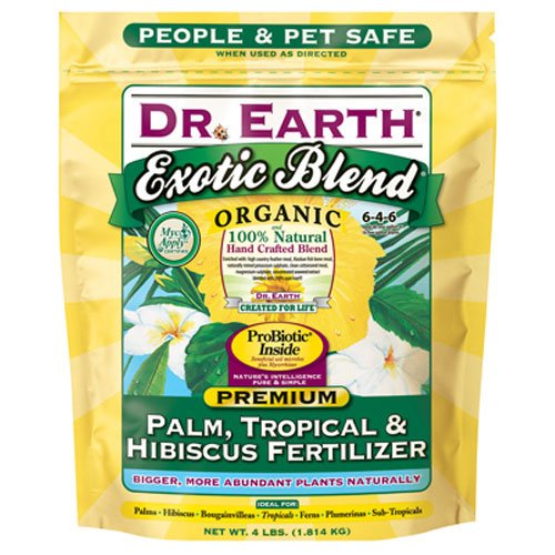 Dr. Earth INC 756P Exotic Exoitc Blend Palm, Tropical & Hibiscus Fertilizer 4lb (Best Fertilizer For Tropical Plants)