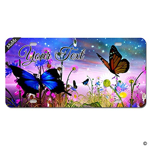 (MsMr Personalized Custom Your Text License Plate Butterfly Galaxy License Plate Cover Novelty Metal Funny License Plate Cover Decorative for Vehicle Auto Car Tag Bike Bicycle 4 Holes)