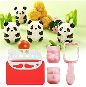 Yunko Bento Accessories Rice Ball Mold Onigiri Shaper and Dry Roasted Seaweed Cutter Set, Baby Panda