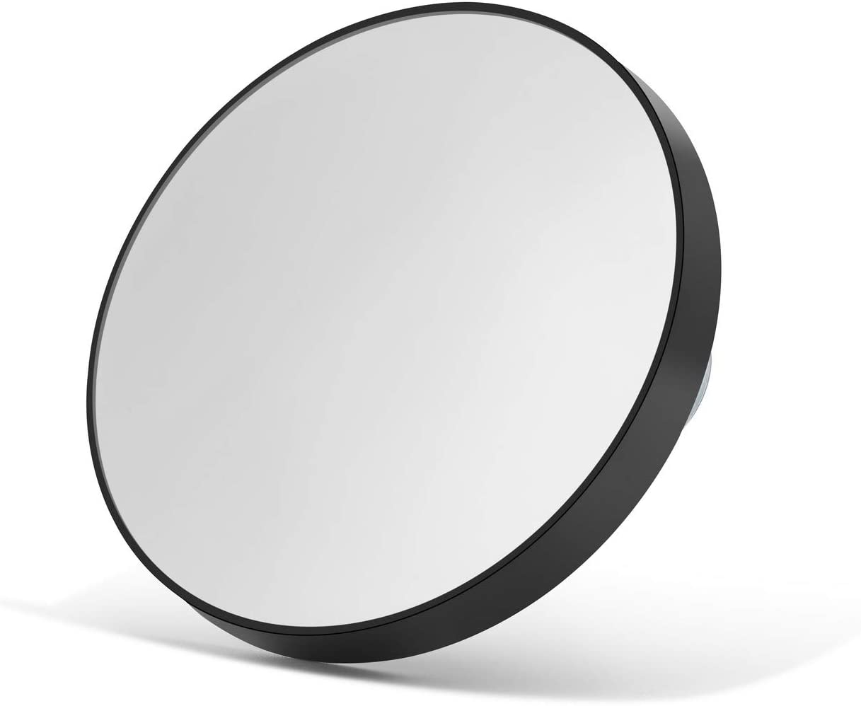 OMIRO 10X Magnifying Makeup Mirror with 2 Suction Cups, Travel Size Round Black 3.5""