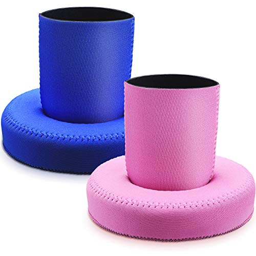 Hotop Floating Drink Holder Neoprene Floating Can Sleeves Drink Pool Float Cup Holders for Swimming Flotation Devices (2 Sets)