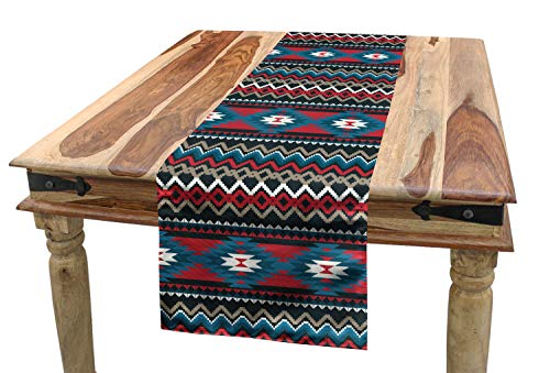 """Ambesonne Antique Table Runner, Prehistoric Style Folkloric Striped Design Antique Mayan Patterns, Dining Room Kitchen Rectangular Runner, 16"""" X 72"""", Black Coral"""