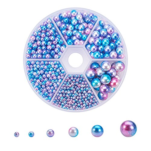PandaHall Elite 1 Box 1815 Pieces 6 Sizes No Holes/Undrilled Imitated Pearl Beads Garment Accessories for Wedding, Birthday Party Colorful (2.5mm, 3mm, 4mm, 5mm, 6mm, 8mm) ()