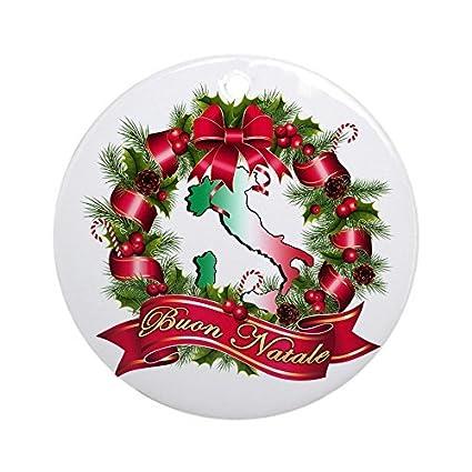 Buon Natale Ornament.Amazon Com Unique Xmas Ornament Buon Natale Round Ornament For