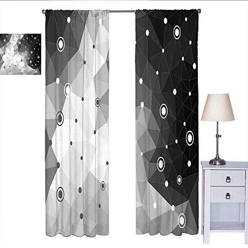RenteriaDecor Black and Grey Kitchen Curtain Polygonal Triangles Dots and Circles Pattern Contemporary Art Inspired Curtain Valance Black Pale Grey W84 x L84 (Dot Circle Valance)