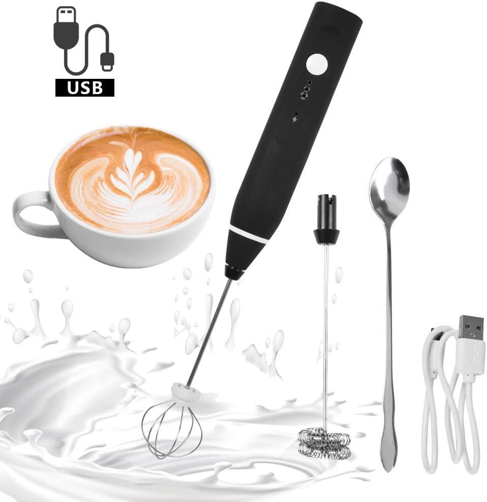 BUYGOO Espumador de Leche Eléctrico, USB Recargable Batidor de Leche de Acero Inoxidable con Cabezal Doble/Simple y Batidor de Globo, Mini Batidora para Huevos Cafe Latte Cappuccino