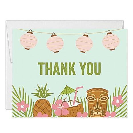 Amazon.com: Luau Tropical tema Tarjetas de agradecimiento ...