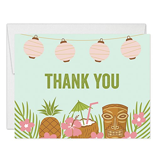 Tropical Flat Card - Luau Tropical Theme Thank You Cards with Envelopes ( Pack of 50 ) Folded Blank Island Palm Tiki Party Thank You Notes Graduation 30th Birthday Retirement Gift Thanks Notecards Excellent Value VT0021