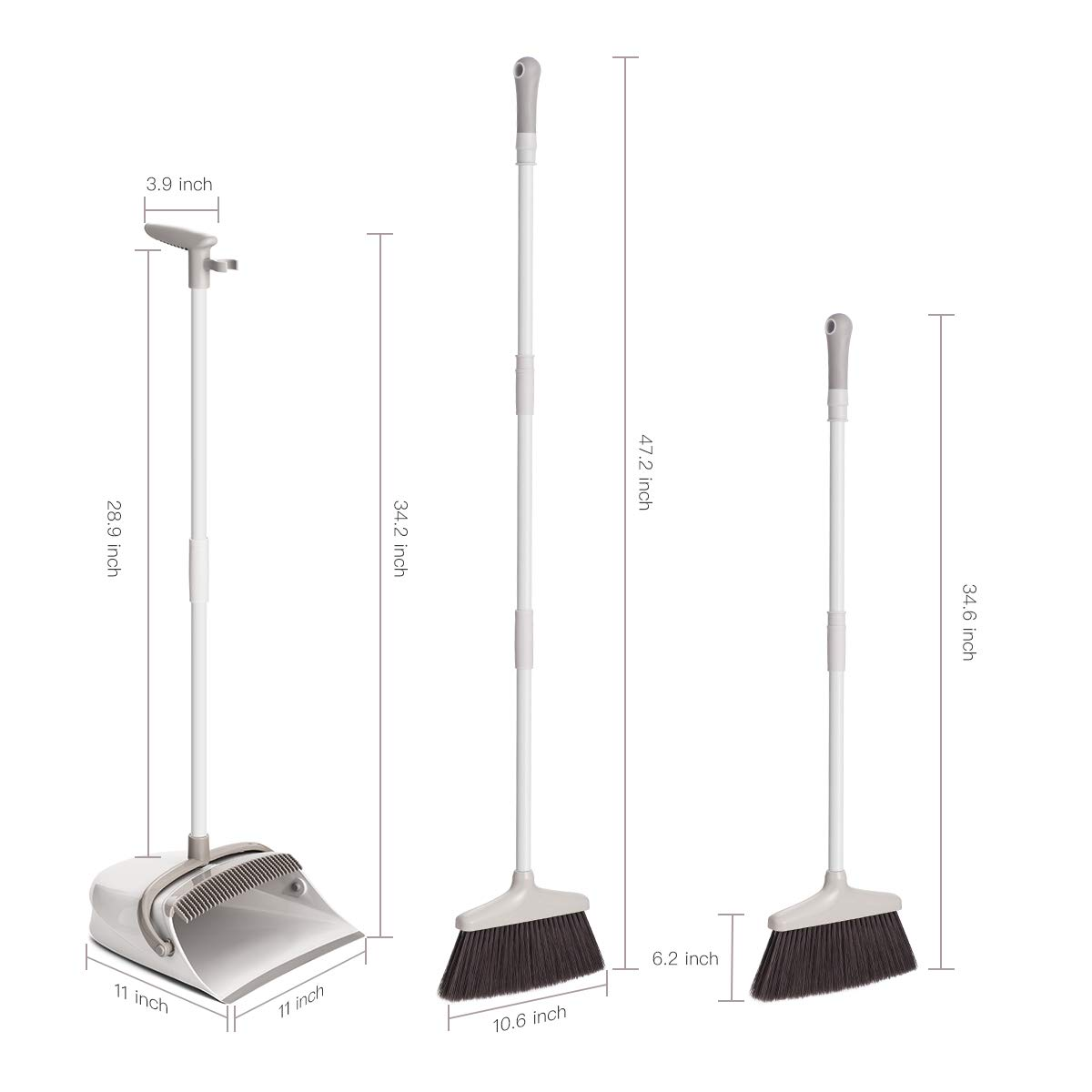 Broom and Dustpan Set, CQT Dust Pan and Broom with Long Handle for Home Kitchen Industry Lobby Floor Sweeping Upright Stand Up Dustpan Cleans Broom Combo by CQT (Image #6)