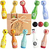 aGreatLife Mini Bowling Game Set for Kids - 10 Wooden Pins - 4 x 1.3 Inches and 3 Bowling Balls - 1.6 inches in Diameter - Best Desk Toys, Table Games for 3, 4, 5 Year-Old Toddlers