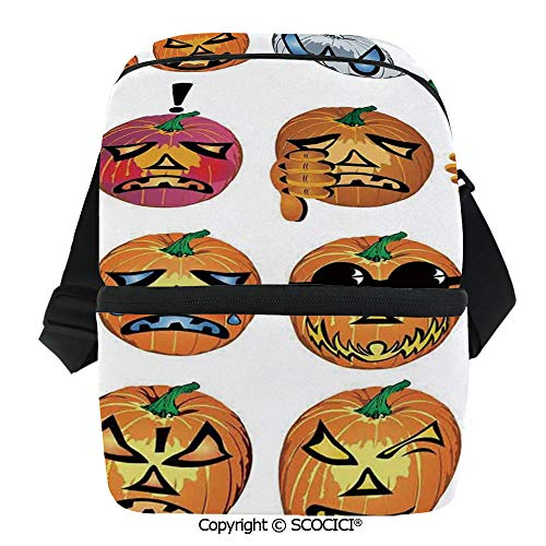 SCOCICI Insulated Lunch Cooler Bag Carved Pumpkin with