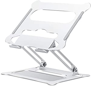 """Adjustable Laptop Stand for Desk, Ergonomic Portable Aluminum Laptop Desk Stand, Non-Slip, Stable, Foldable Laptop Riser, Compatible with MacBook Pro/Air and More Notebooks in 10""""-17"""" - Silver"""