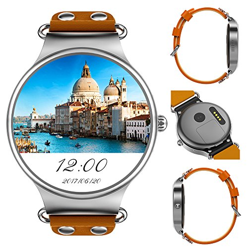 KW98 3G Bluetooth Smart Watch Phone Android 5.1 1.39 inch MTK6580 Quad Core 1.0GHz 8GB ROM GPS Heart Rate Measurement Pedometer Sport Watch(Silver Brown)