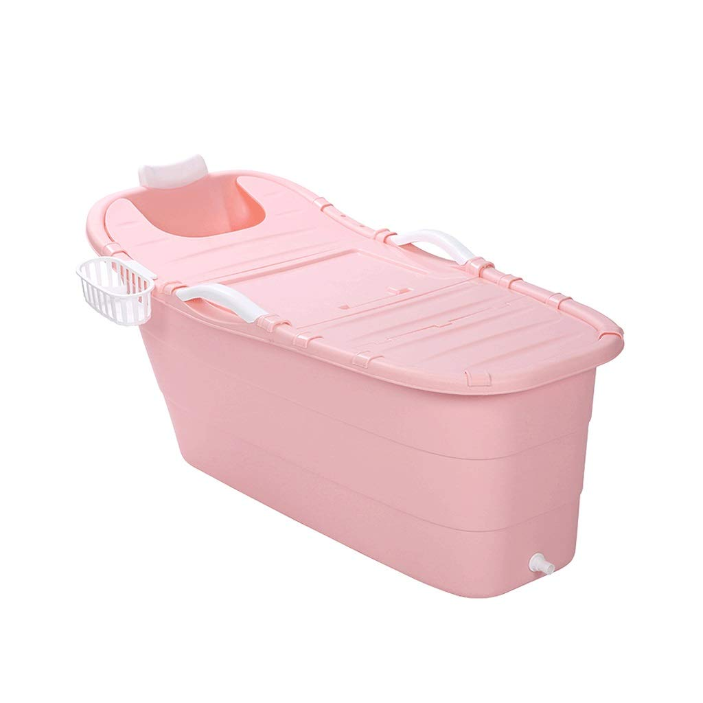 Bath tub Bathtub Adult Bathtub Long Bathtub Adult Bathtub Plastic Thicken Household Bathtub Large Bathtub With Cover 4 Color 3 Size (Color : Pink, Size : 1356064cm)