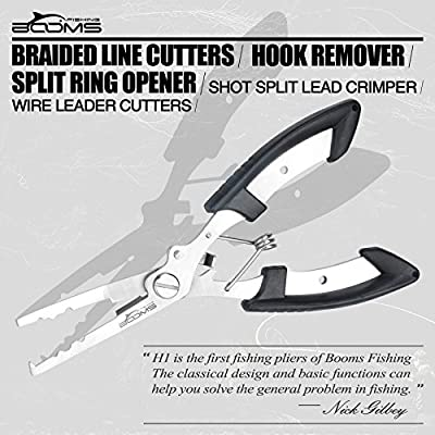 Booms Fishing H1 Fishing Pliers Stainless Steel Tools with Sheath Lanyard 6.7in 3 Color Available