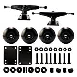 VJ Skateboard Accessory Combo 5' Skateboard Trucks Aluminum (Black) 52mm Skatebaord Wheels Abec 7 Bearings Spacer Riser Pads 1' Screws (52mm Black)