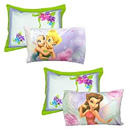 4pc Disney Tinkerbell Pillowcase Pillow Sham Set Fairies Floral Frolic Bedding Accessories