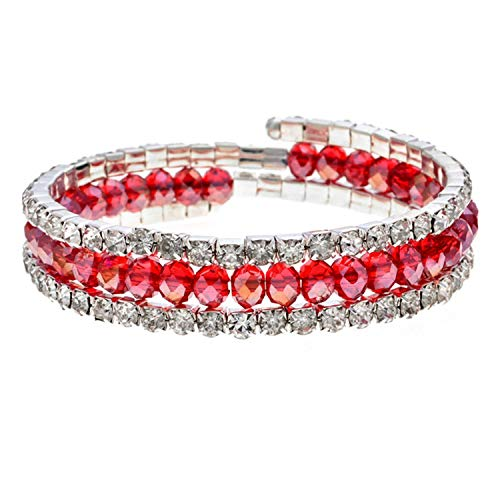 TILLY ANDERSON Bohemian Crystal Adjustable Charms Bracelets Bangles Silver Color Open Multilayer Bracelet for Women Party Jewelry Gift,B ()