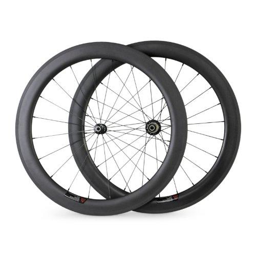 BaiXiang - Ruedas para bicicleta de carretera, de fibra de carbono, 700C, 60 mm, 1520 g, Ultra ligeras, para bicicletas con cubierta de carretera, para ...